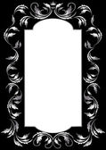 Frame of silver leaf in old style on a black background — Vector de stock
