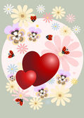 Red heart decorated with flowers.Postcard. — Stock Vector