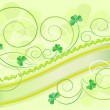 Petals clover decoration on a light green background.Postcard. — Stock Vector #8853327