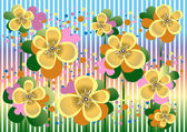 Pale yellow flowers in a colorful background.Banner. — Stock Vector