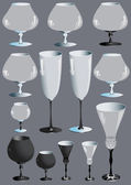 Collection of glass goblets for alcoholic beverages. — Vettoriale Stock