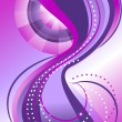 Bands of circles and waves on the background with purple hues. Banner. — Stock Vector