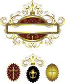 старый каркас с золотой крест и корона украшены кривых.кадр. — Cтоковый вектор