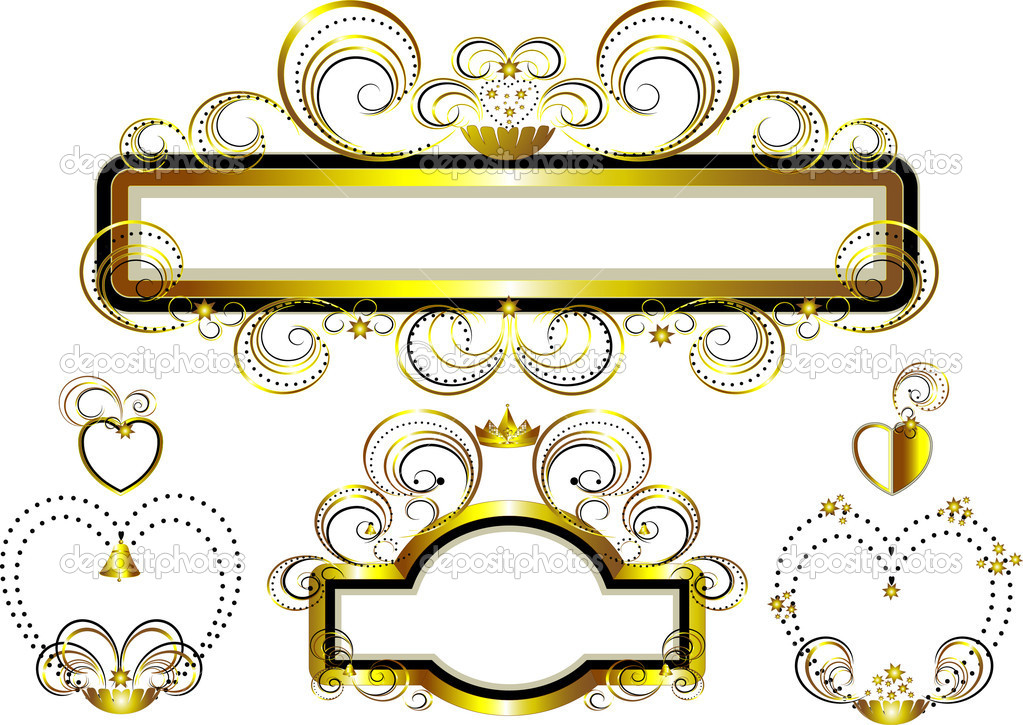 Classic frames decorated with gold stars and curves.Banner.Frame. — Stock Vector #9569682