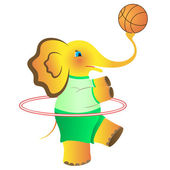 The cheerful elephant who is going in for sports. Vector. — Stock Vector