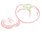 červené rajče s laloků. — Stock vektor