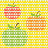 Set of seamless patterns with an apple ornament. — Stock Vector
