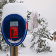 Stock Photo: Call-box in forest in winter.