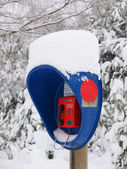 The call-box in the forest in winter. — Stock Photo