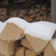 Stock Photo: Birch fire wood in woodpile.