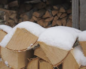 Birch fire wood in a woodpile. — Stock Photo
