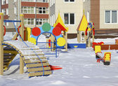 New kindergarten with a playground . — Stock Photo