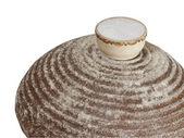 Round rye bread with salt. — Stock Photo