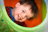Close up portrait of happy smiling boy — Stock Photo