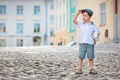 Portrait of a little 3 years old boy outdoors — Stock Photo