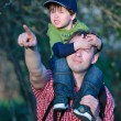 Cute little boy sitting on father's shoulders — Stock Photo