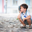 Portrait of a little boy outdoors — Stock Photo #10649316