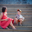 Mother and her little son outdoors in city — Stock Photo #10649664