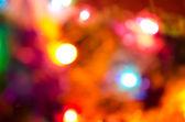 Blurred new year's tree lights — Stock Photo