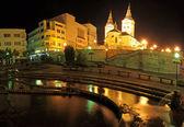 Holy Trinity Cathedral (slovak: Katedrala Najsvatejsej Trojice), colloquially Parish church (Farsky kostol) in Zilina, Slovakia. Night photo — Stock Photo