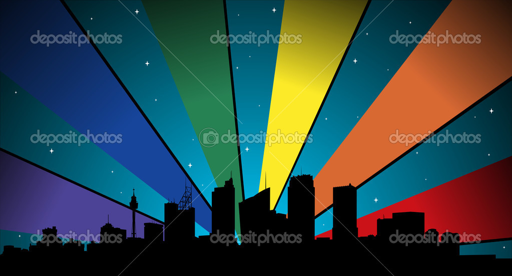 City silhouette, stars, color light ray in gay colors, sydney — Stock Photo #8226163