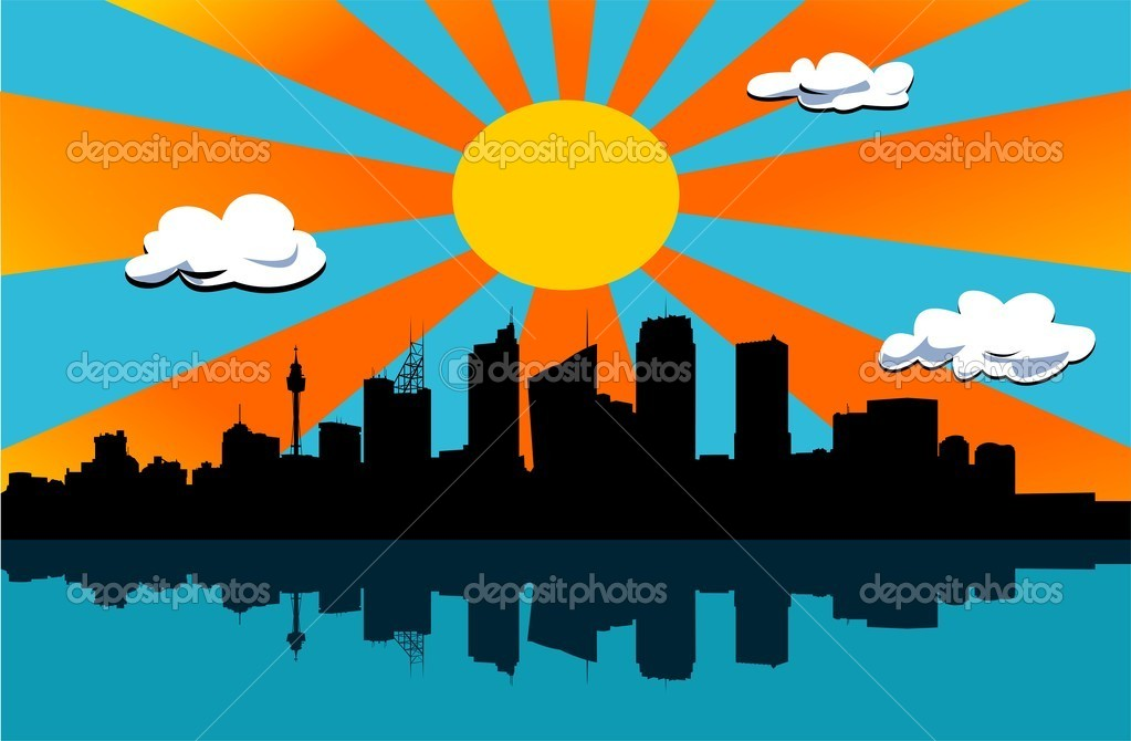 Black city scape silhouette, big sun with orange rays in background — Stock Photo #8226379