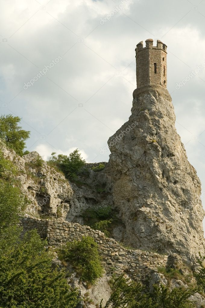 Famous tower of Devin castle near Bratislava, Slovakia  Stock Photo #8499417