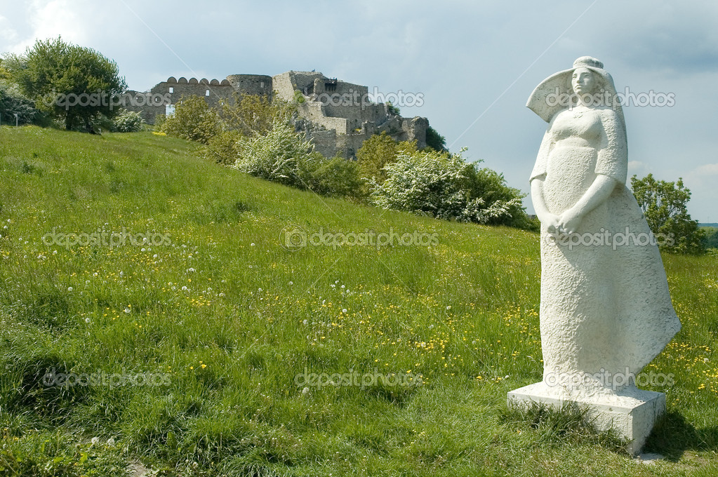 Devin castle near bratislava, white woman sculpture in foreground — Stock Photo #8650232
