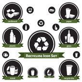Recyclage jeu d'icônes — Vecteur