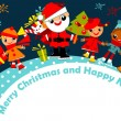 Stock Vector: Christmas greeting card with kids