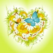 Royalty-Free Stock Immagine Vettoriale: Valentine flower heart. daisies and dandelions