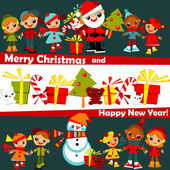 Christmas background. kids — Stock Vector