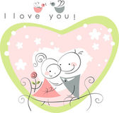 Valentine couple on park bench — Stock Vector