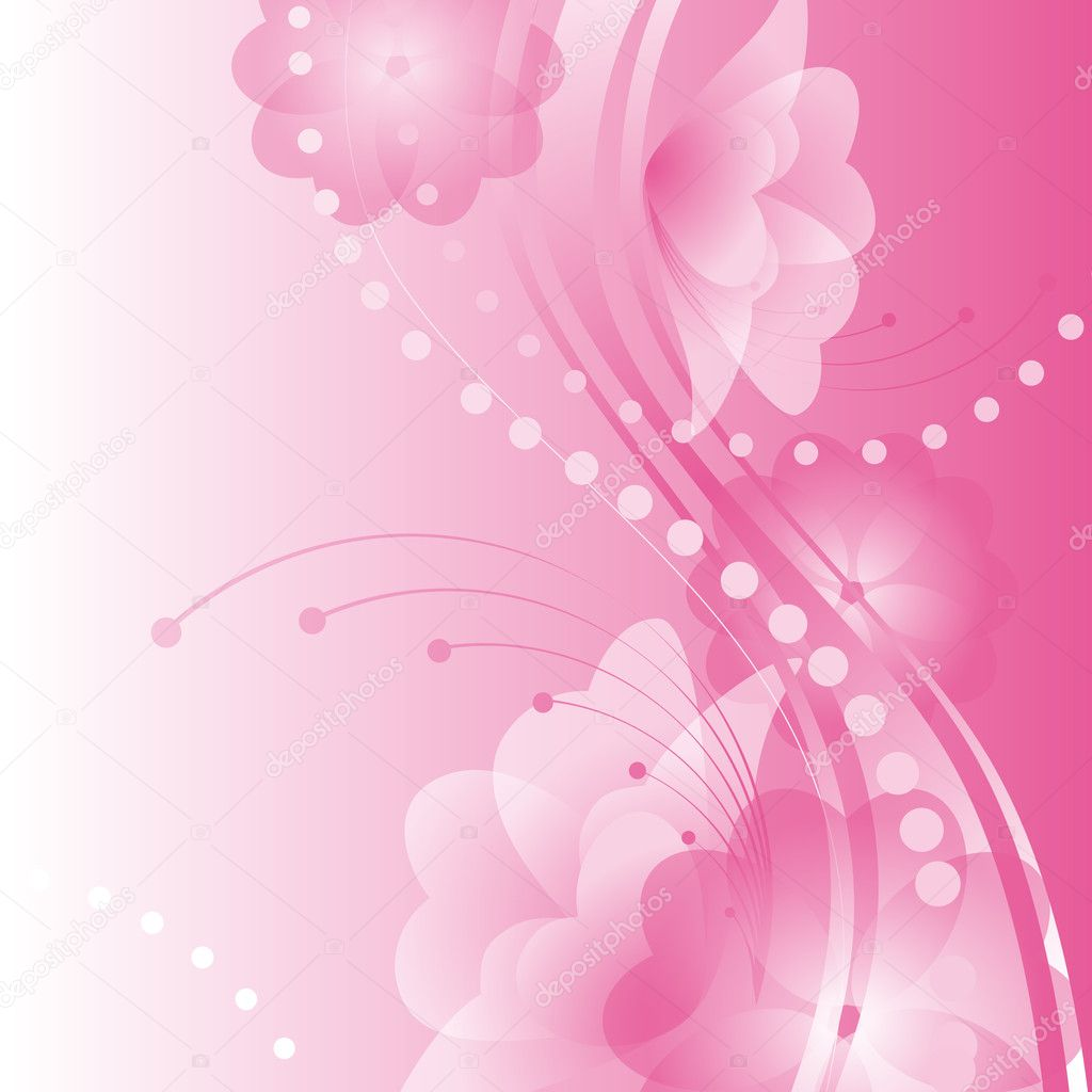 Abstract flower background.flowers with petals in the shape of hearts on a pink background. Valentine Vector illustration. — Stock Vector #8068138