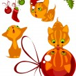 Stock Vector: Set of Christmas kittens