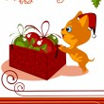 Kitten and Christmas toys — Stock Vector