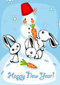 Hares and Snowman — Wektor stockowy