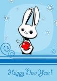 Kanin med jul boll — Stockvektor