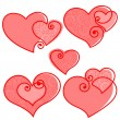 Valentines set hearts — Stock Vector