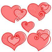 Valentines set hearts — Stock Vector