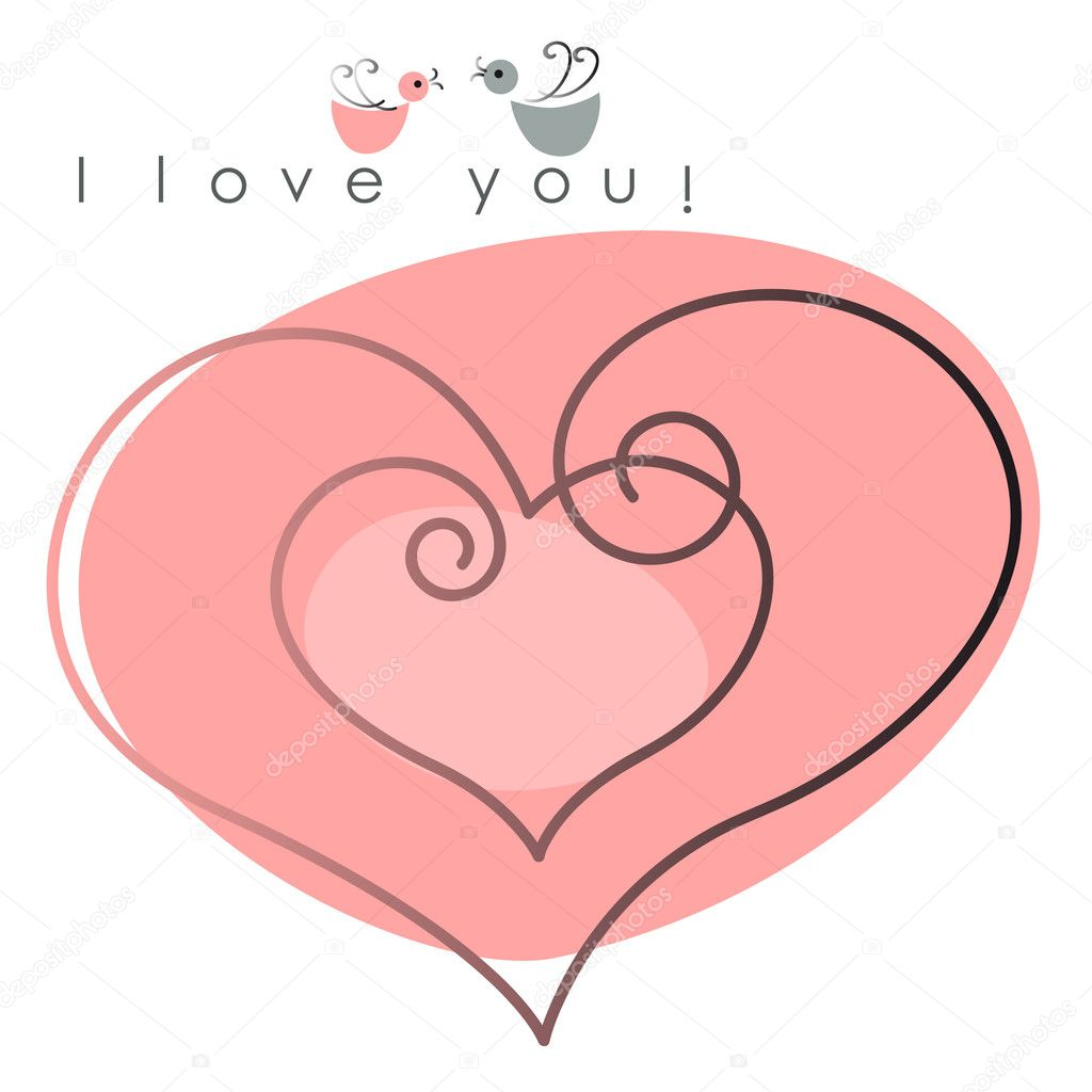 Valentine card. two hearts with  birds on pink background, and text -  I love you. Vector illustration — Stock Vector #8339759