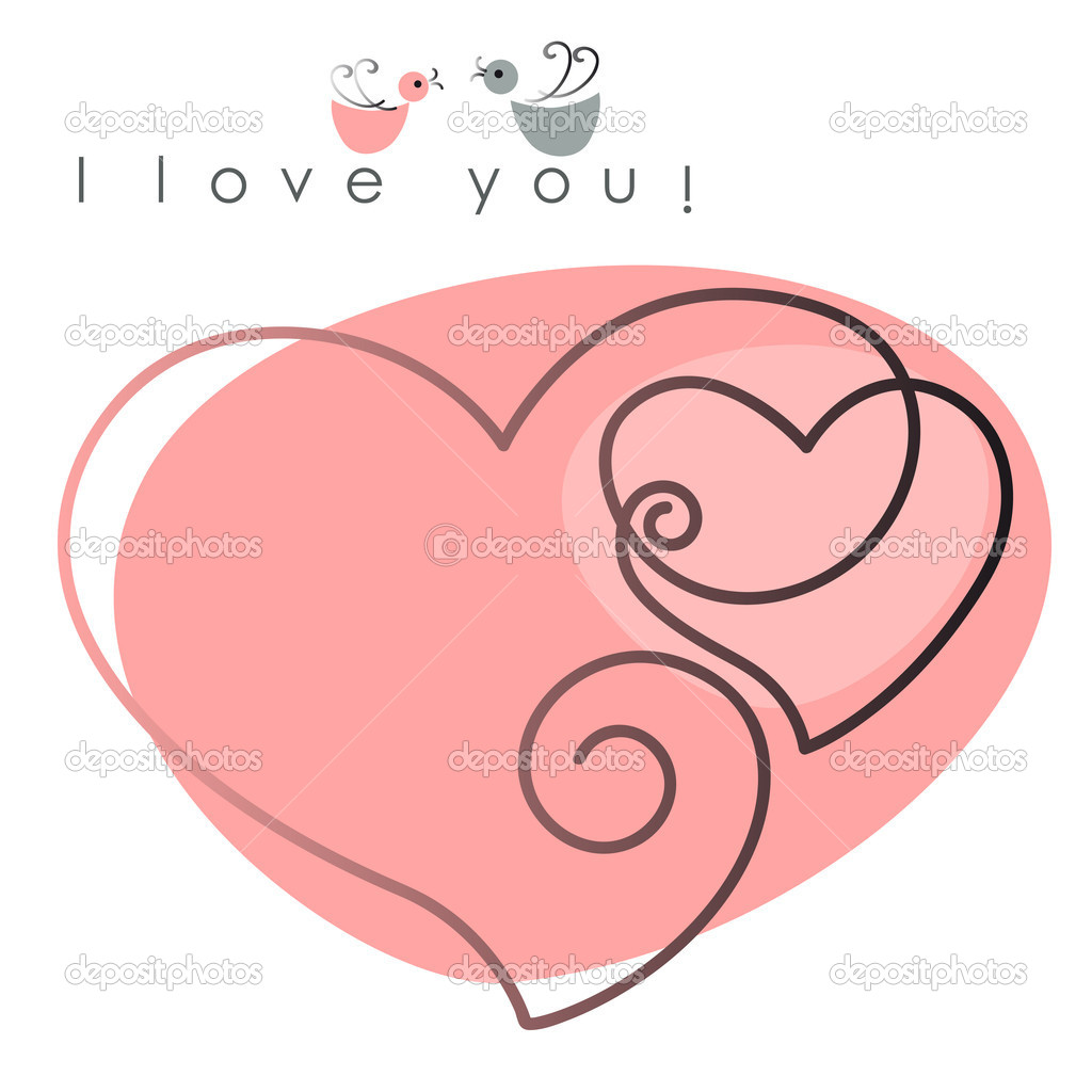 Valentine card. two hearts with  birds on pink background, and text -  I love you. Vector illustration — Stock Vector #8339762