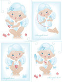 Angel with hearts — Vector de stock