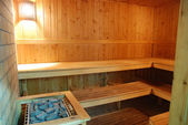 Wide-angle look into the wooden sauna interior — Stock Photo