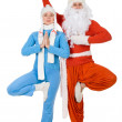 Santa Claus and the Snow Maiden of yoga — Stock Photo #8054838