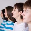 Group of casual in a row — Stock Photo