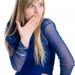The beautiful emotional blonde covers a mouth with a hand — Stock Photo #9378424