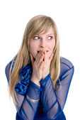 Shocked or surpised young woman with long blond hair,covering he — Stock Photo