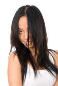 Närbild porträtt av ung kvinna — Stockfoto