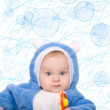 Cute little boy with a warm blue coat — Stock Photo